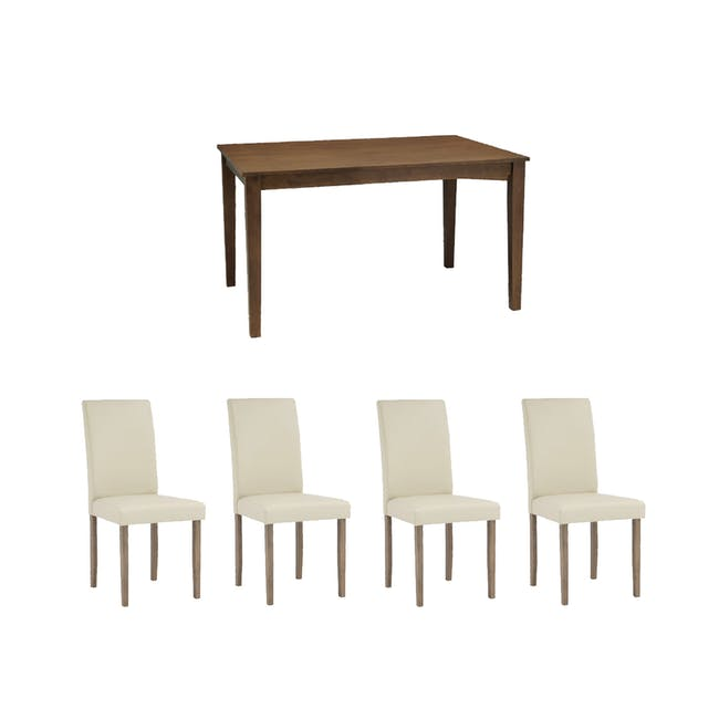Paco Dining Table 1.2m in Cocoa with 4 Dahlia Dining Chairs in Cream - 0