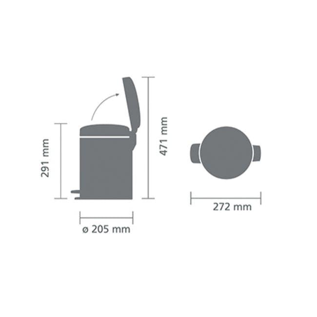 Brabantia 5L Pedal Bin NewIcon - Matt Steel - 4