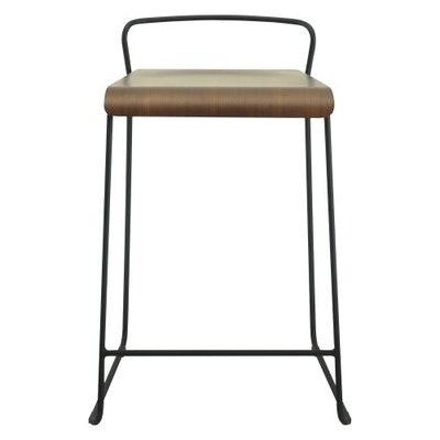 Camila Counter Chair - Walnut, Matt Black - Image 2
