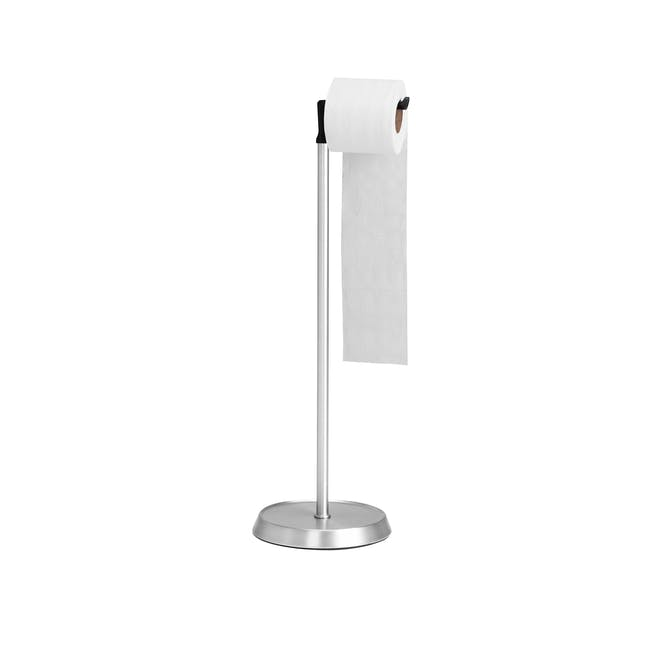 Letty Toilet Paper Stand - Black, Nickel - 1