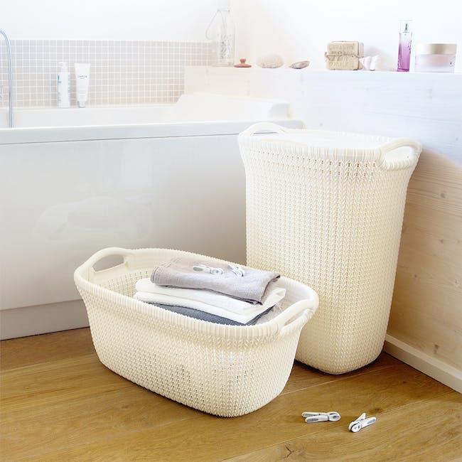 Knit Laundry Hamper with Lid 57L - Oasis White - 1
