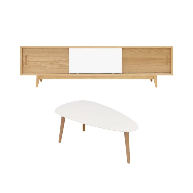 Emelie TV Console 1.6m in Oak, White with Avery Coffee Table in White - 0