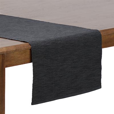 Rectangular Cotton Placemats (Set of 6) with Rectangular Cotton Table Runner - Dark Grey - Image 2