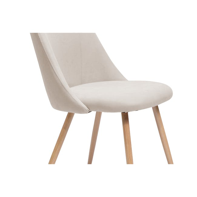 Lana Dining Chair - Oak, Wheat Beige (Fabric) - 3