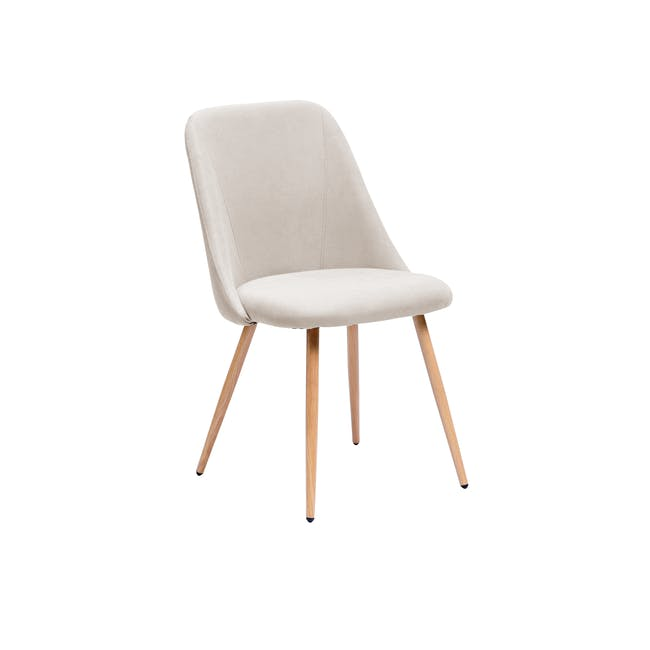 Lana Dining Chair - Oak, Wheat Beige (Fabric) - 0