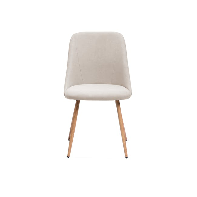Lana Dining Chair - Oak, Wheat Beige (Fabric) - 2