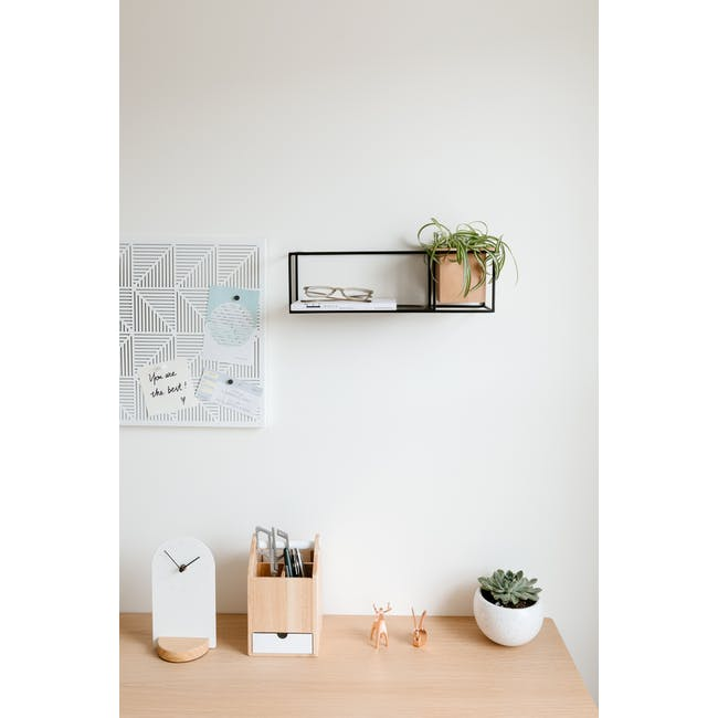 Cubist Small Wall Shelf - Natural, Black - 6