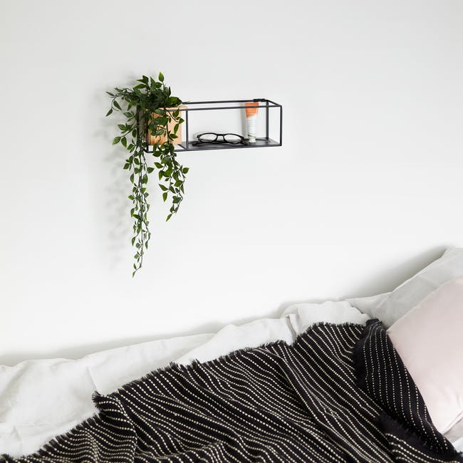 Cubist Small Wall Shelf - Natural, Black - 7