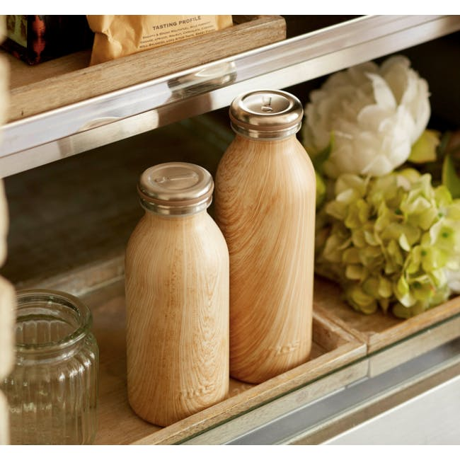 MOSH! Double-walled Stainless Steel Bottle 450ml -  Brown Wood - 1