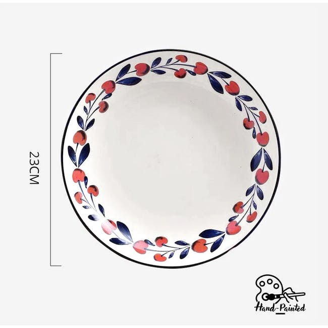 Table Matters Holiday Berry Hand Painted Coupe Plate - 1