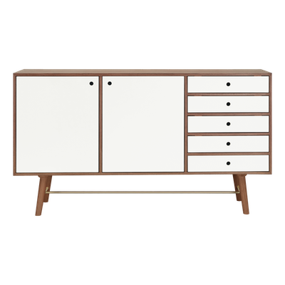 Axtell Sideboard 1.8m - Walnut Veneer, White Lacquered - Image 1