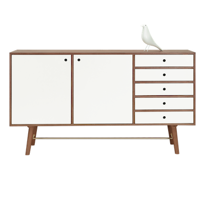 Axtell Sideboard 1.8m - Walnut Veneer, White Lacquered - Image 2