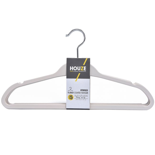 HOUZE Rubber Coated ABS Hangers (Set of 5) - Bottega White - 0