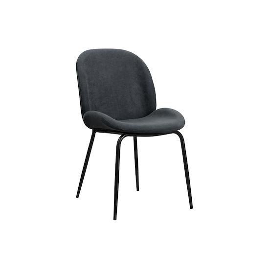 KSD - Quinn Dining Chair - Matt Black, Granite (Fabric)