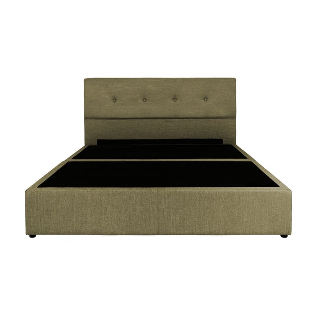 ESSENTIALS Queen Headboard Box Bed - Khaki (Fabric) - 1