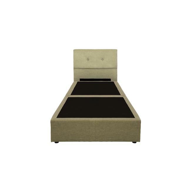 ESSENTIALS Super Single Headboard Box Bed - Khaki (Fabric) - 1