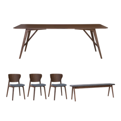 Fidel Dining Table 2.2m with Fidel Dining Bench 1.5m and 3 Fabiola Dining Chairs - Walnut - Image 1