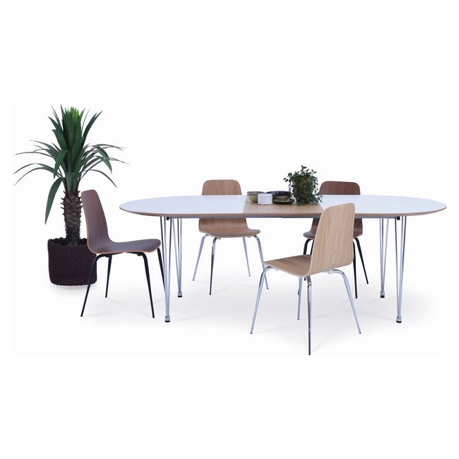 (As-is) Rikku Extendable Oval Dining Table 1.7m - White, Oak, Chrome - 1 - 14