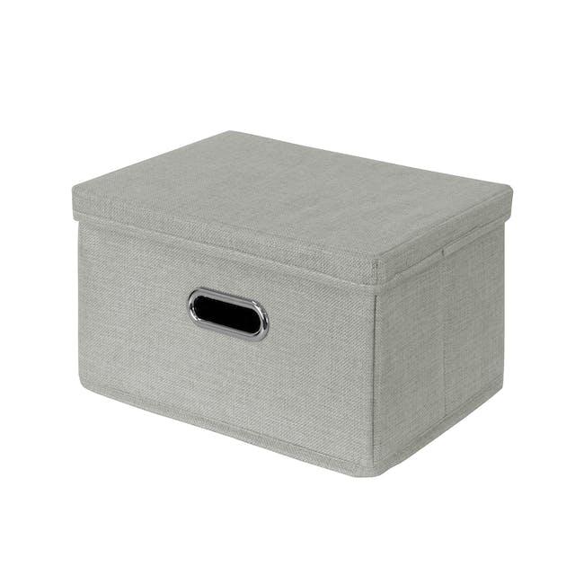 Leonard Fabric Storage Box - Light Grey - Medium - 0