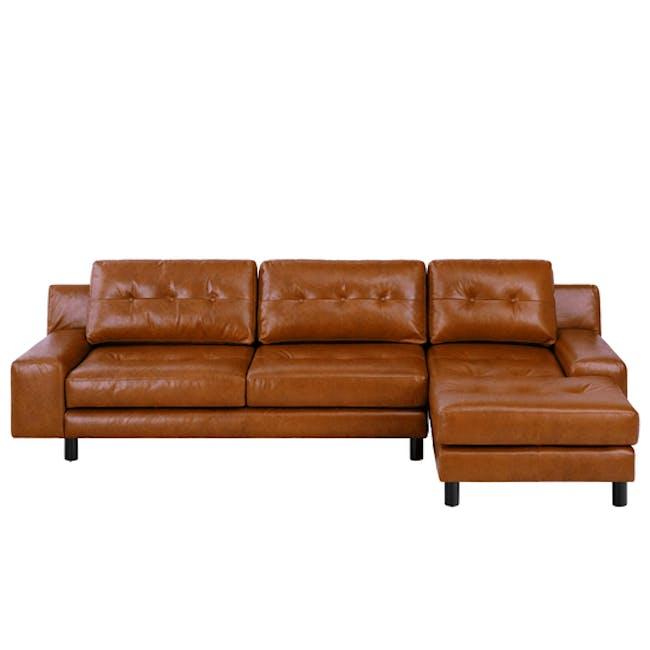 Wyatt L-Shaped Sofa - Cigar (Premium Waxed Leather) - 0