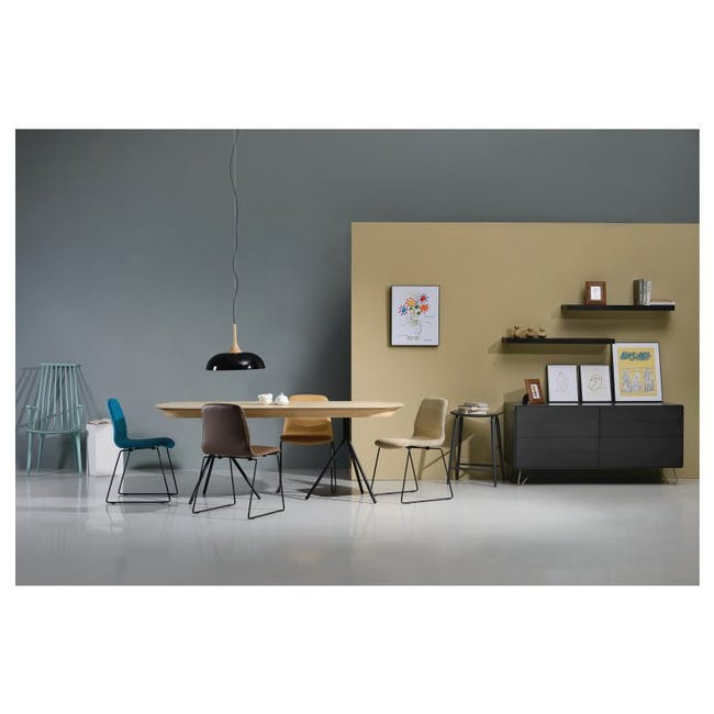 Bianca Dining Chair - Matt Black, Emerald - 2