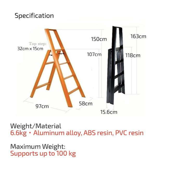 Hasegawa Lucano Aluminium 4 Step Ladder - Red - 5