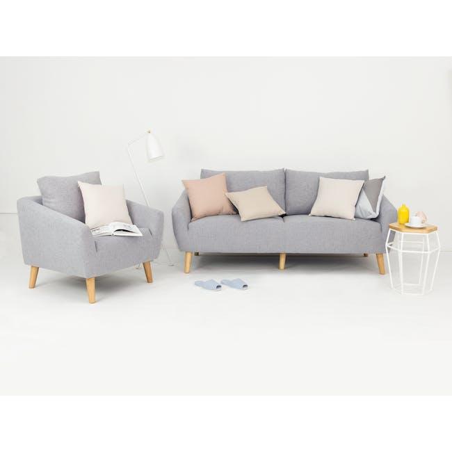 Hana 2 Seater Sofa with Hana Armchair - Light Grey - 2