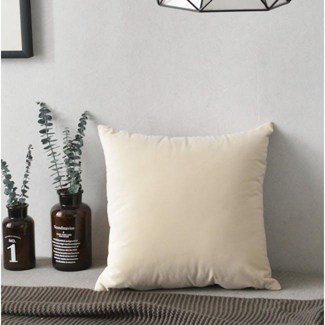 Tammy Large Velvet Cushion - Ivory - 1