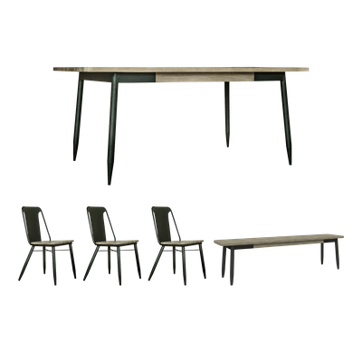 Starck Dining Table 2m with Starck Bench and 3 Starck Dining Chairs - Image 1