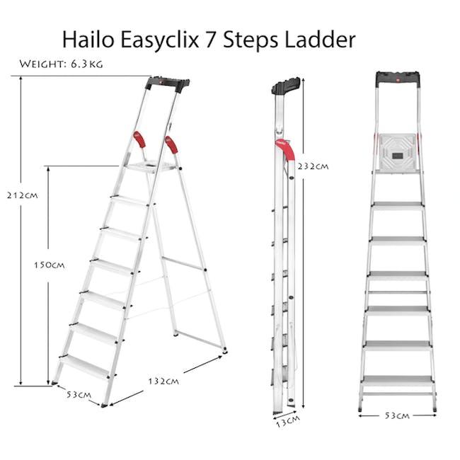 Hailo Aluminium 7 Step Ladder (2 Step Sizes) - 2