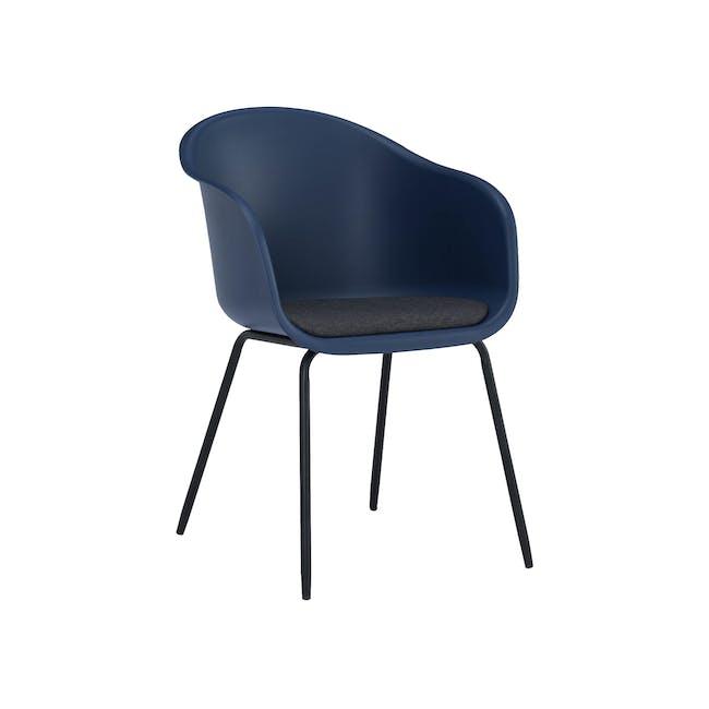 (As-is) Rayner Dining Armchair - Matt Black, Midnight Blue - 1 - 0