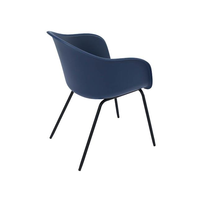 Rayner Dining Armchair - Matt Black, Midnight Blue - 4