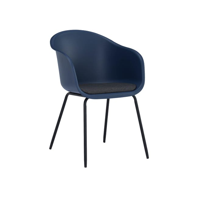 Rayner Dining Armchair - Matt Black, Midnight Blue - 0