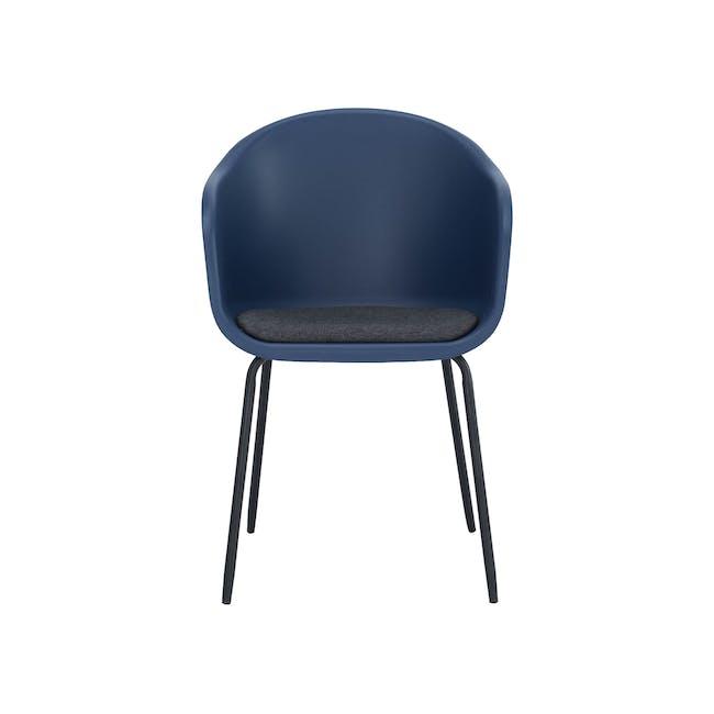 Rayner Dining Armchair - Matt Black, Midnight Blue - 2