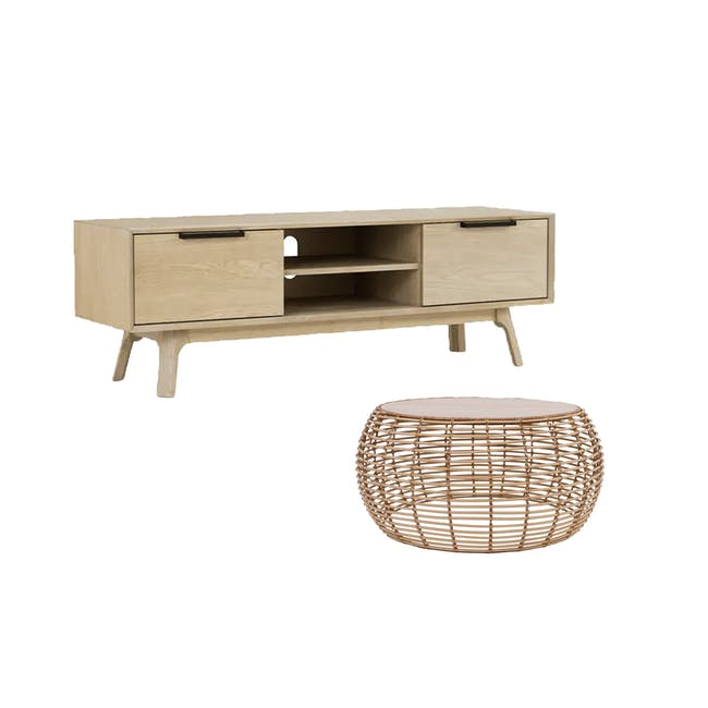 Noud TV Console 1.5m with Nora Rattan Coffee Table - 0