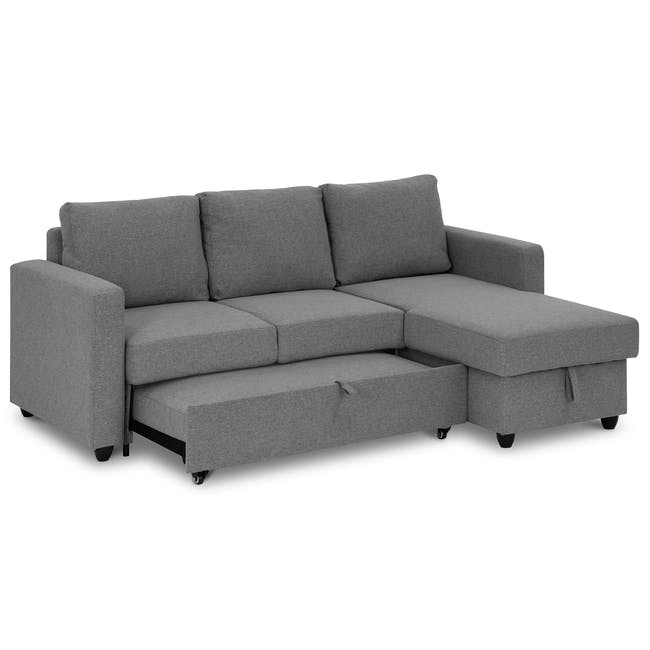 Mia L-Shaped Storage Sofa Bed - Dove Grey - 3
