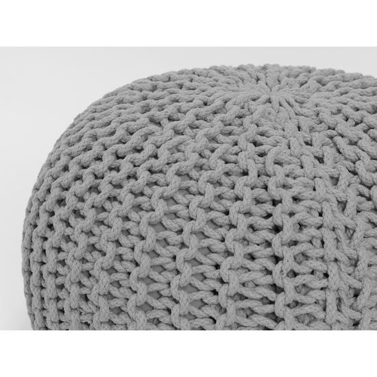 Singla Textiles - Moana Knitted Pouffe - Light Grey