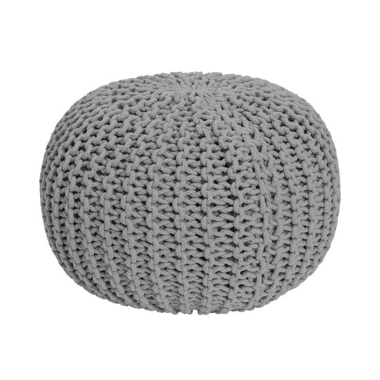 Singla Textiles - Moana Knitted Pouf - Light Grey