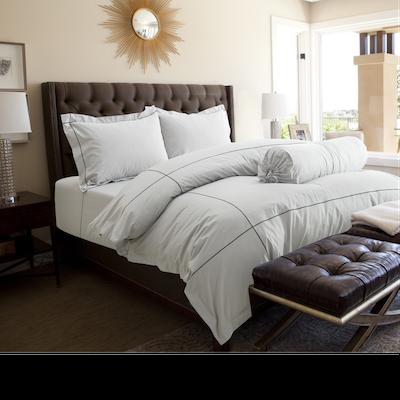 (King) Hotelier Prestigio™ 6-pc Bedding Set - Cliff Grey Base Black Embroidery - Image 1