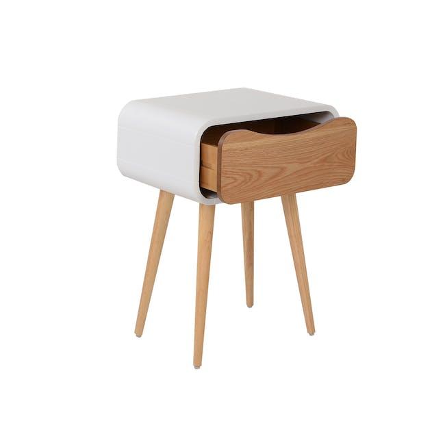 Albie Bedside Table - Oak, White - 3
