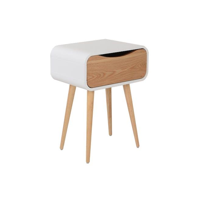 Albie Bedside Table - Oak, White - 2