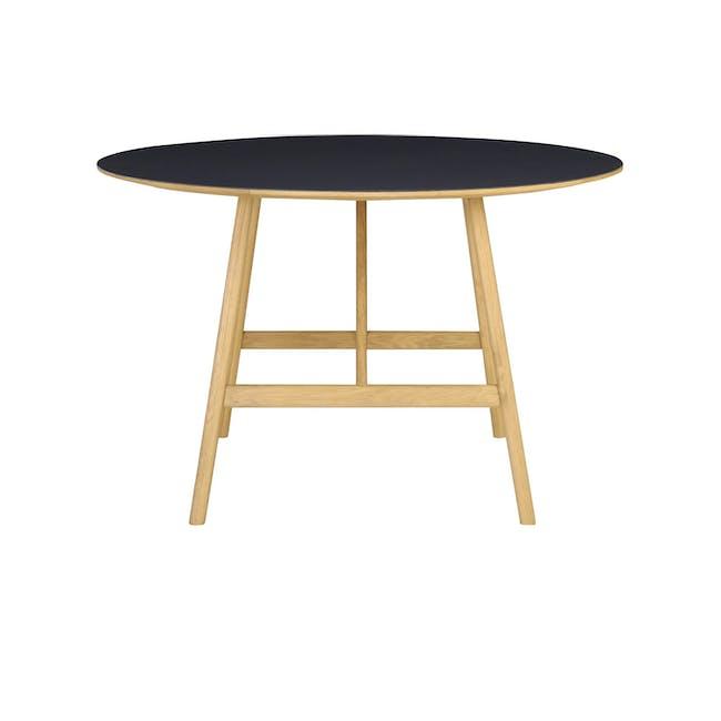 Fidel Round Dining Table 1.2m - Oak, Black - 2