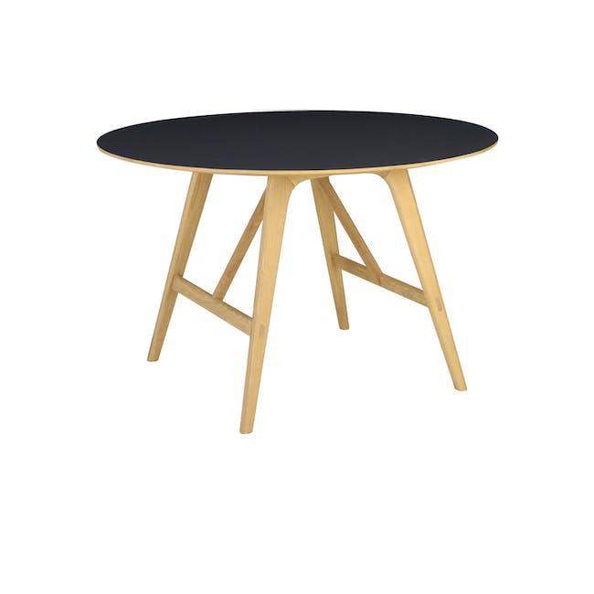 Fidel Round Dining Table 1.2m - Oak, Black - 1