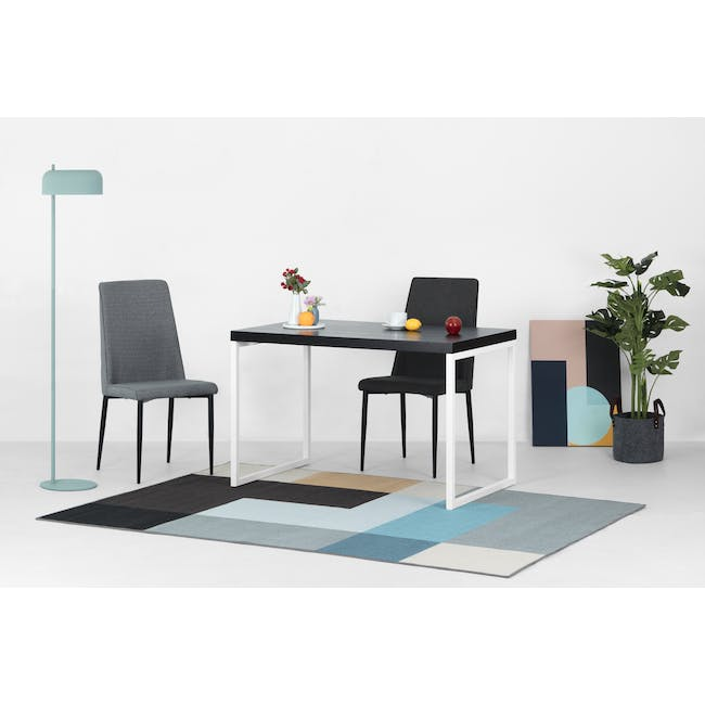 Paco Dining Table 1.2m in Cocoa with 4 Jake Dining Chairs in Carbon - 2