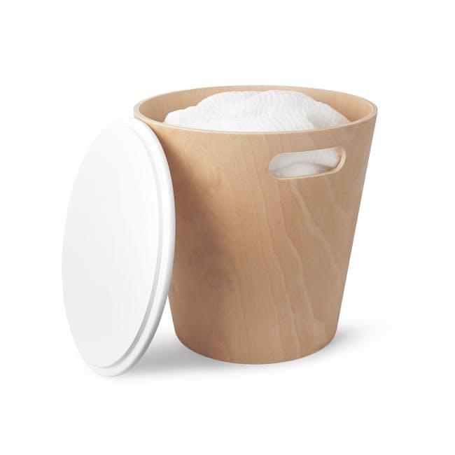 Woodrow Storage Stool - White, Natural - 3
