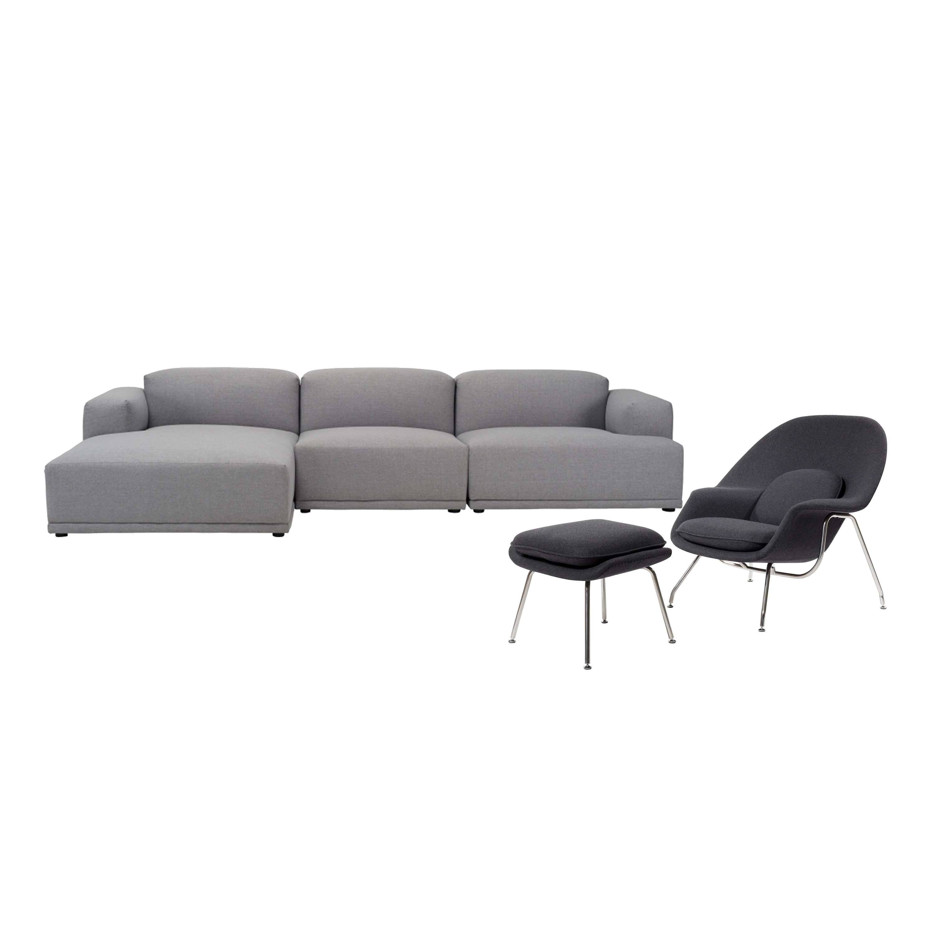 Flex 4 Seater L Shape Sofa With Saarinen Womb Chair With Ottoman