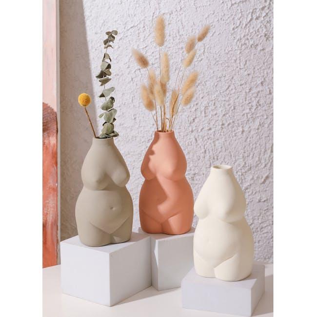 Female Sculpture Body Art  Ceramic Vase - Khaki - 1