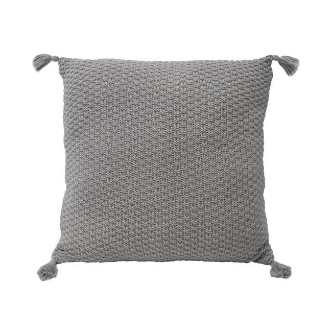 Laura Knitted Cushion Cover - Grey - 0
