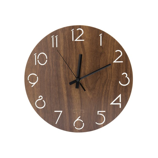 Hunter Wall Clock - Walnut - 0
