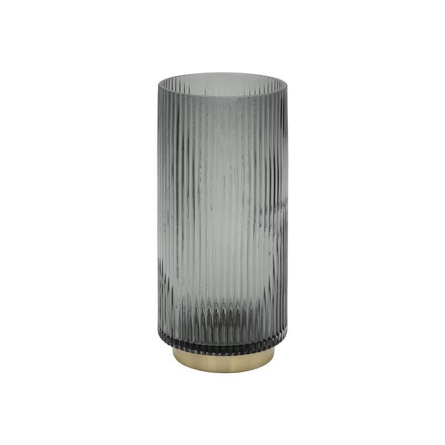 Willa Ribbed Vase 25 cm - Grey - 0